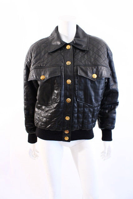 1991 Vintage Chanel Quilted Leather Jacket