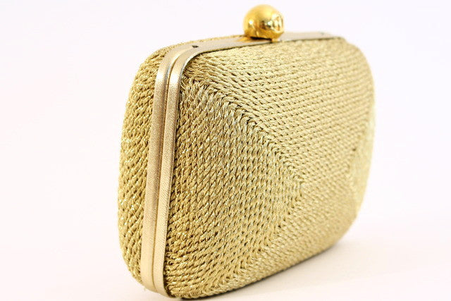 Vintage Chanel Gold Minaudière Bag Clutch