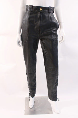 Vintage CHANEL Lace-Up Leather Pants