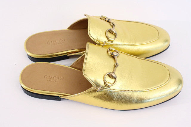 New GUCCI Gold Princetown Slipper Loafer at Rice and Beans Vintage d93343ecc