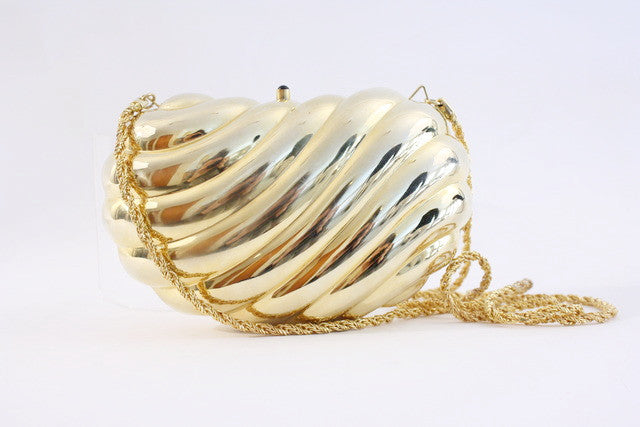 Vintage gold minaudière bag clutch