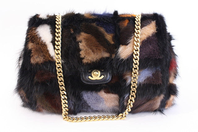 Vintage Chanel Patchwork Mink Flap Bag