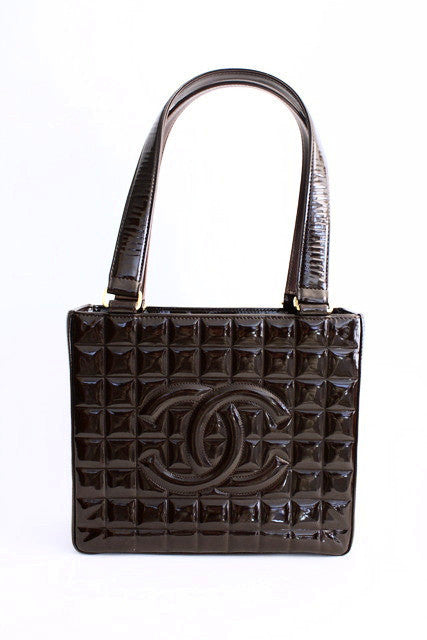 Vintage Chanel Chocolate Bar Patent Leather Tote Bag