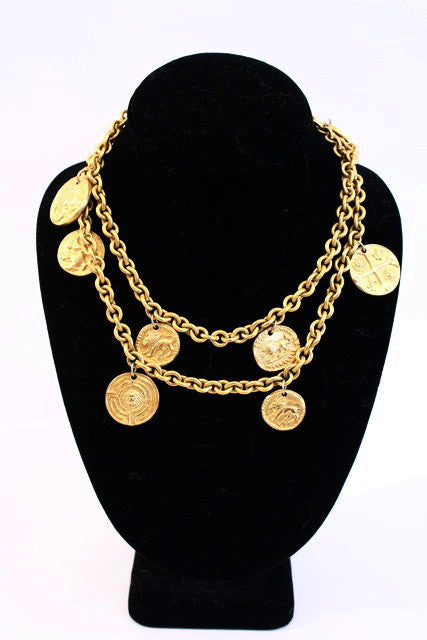 Vintage Anne Klein Gold Lion Coin Necklace