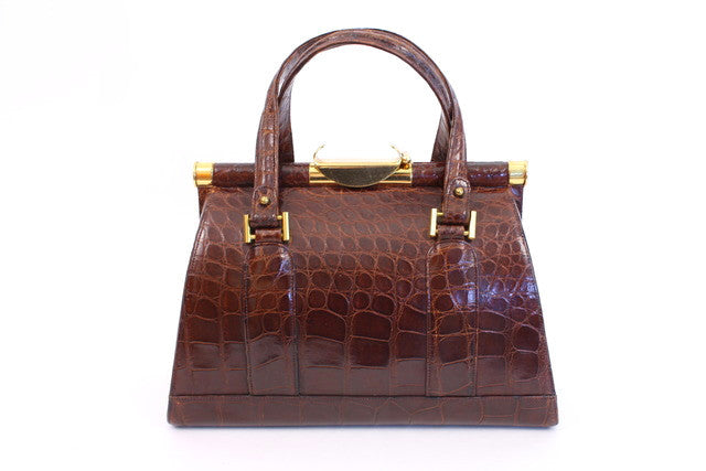 Vintage Alligator Top Handle Bag