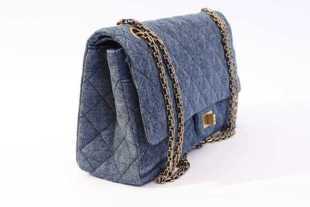 a16a10b71c0b CHANEL 2.55 Denim Double Flap Bag at Rice and Beans Vintage