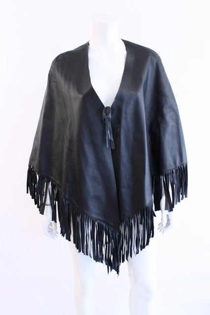 Vintage Fringed Leather Cape