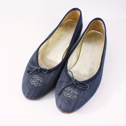 Vintage Chanel denim ballet flats