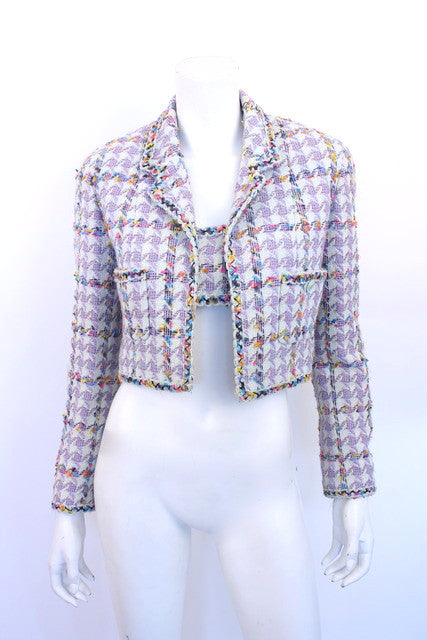 Vintage Chanel Rainbow Boucle Jacket Set