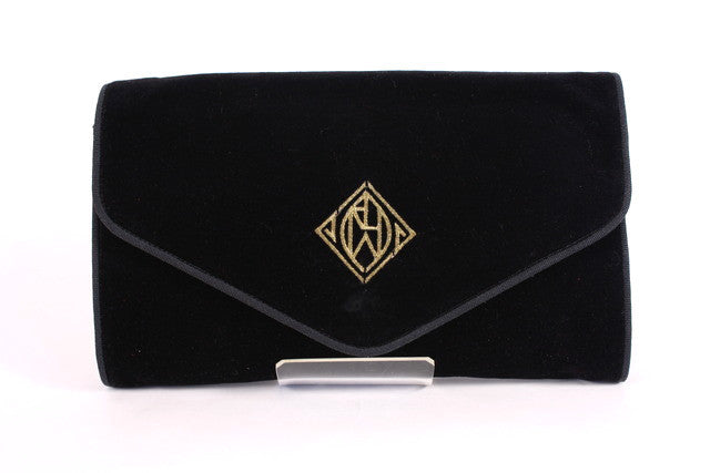 Vintage RALPH LAUREN Velvet Monogram Clutch Bag