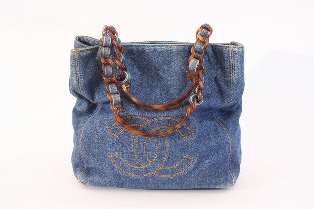 Vintage Chanel denim tortoise tote bag