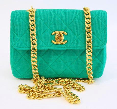Rare Vintage CHANEL Emerald Green Flap Bag