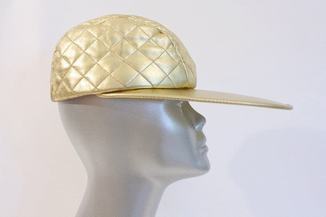 Vintage CHANEL Gold Quilted Leather Hat at Rice and Beans Vintage c19075da8f7