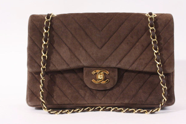 Vintage Chanel Chevron Brown Double Flap Bag