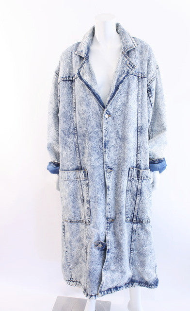 Vintage 80's Acid Wash Denim Sherpa Coat
