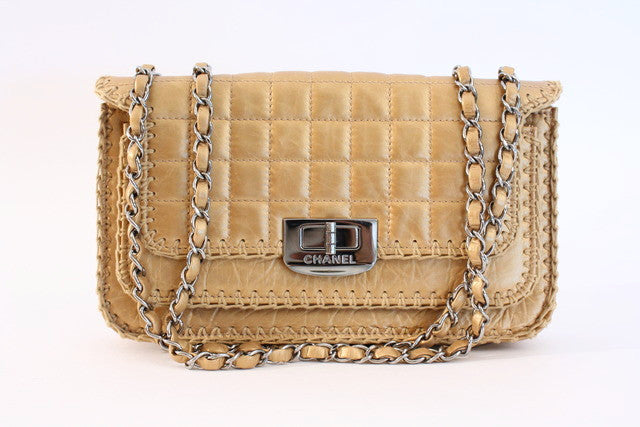7a9ffcdb66239a Rare Vintage CHANEL Gold Flap Bag at Rice and Beans Vintage