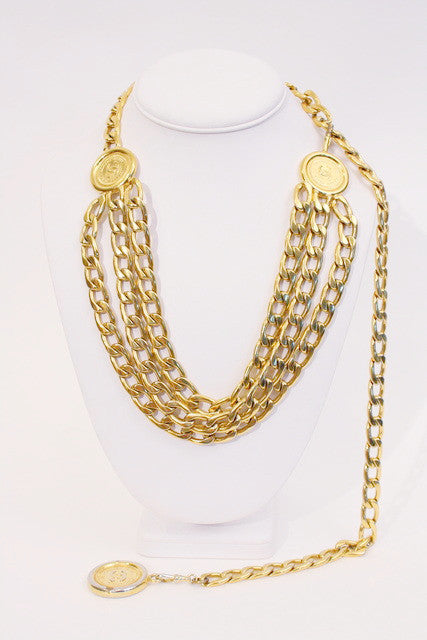 Vintage Chanel Cuban Link Medallion Belt