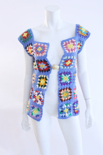 Vintage 70's Crochet Sweater Vest