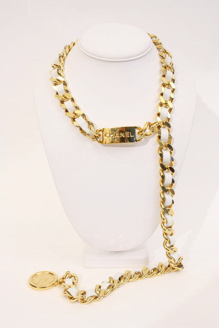 Vintage Chanel Nameplate Belt Necklace