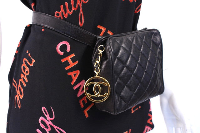 Vintage Chanel Black Lambskin Waist Belt Bag