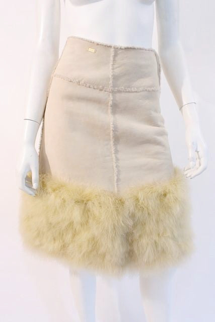 Vintage Chanel Shearling Feather Skirt