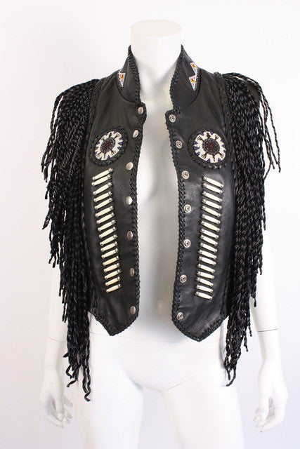 Vintage Beaded Fringe Leather Vest