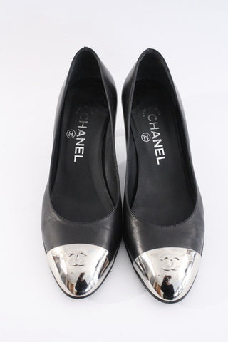 Rare Vintage CHANEL Metal Capped Toe Heels