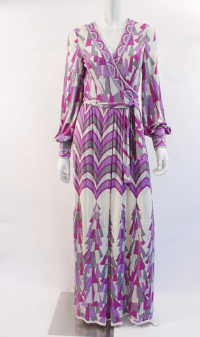Vintage 70's EMILIO PUCCI Silk Maxi Wrap Dress