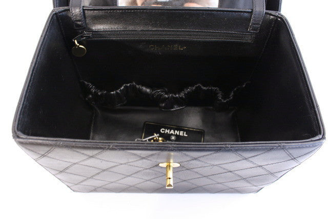 053ef24a9d476a Rare Vintage CHANEL Quilted Train Case Bag at Rice and Beans Vintage