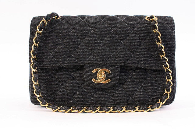 Vintage Chanel Black Denim Double Flap Bag
