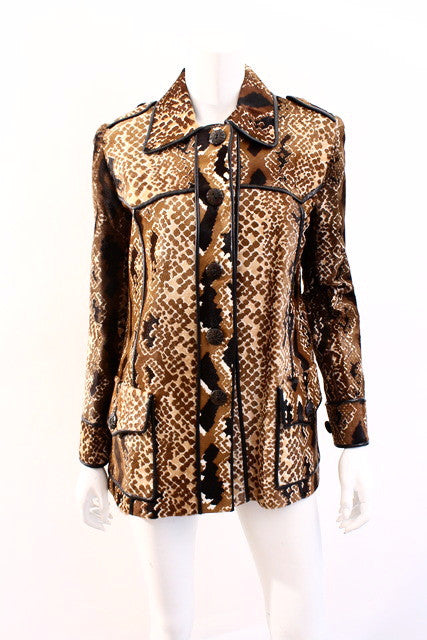 Fortuna Valentino Snake Print Calf Hair Coat