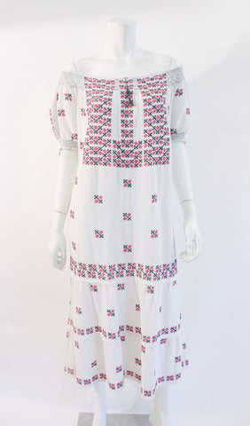 Vintage Off the Shoulder Embroidered Cotton Dress