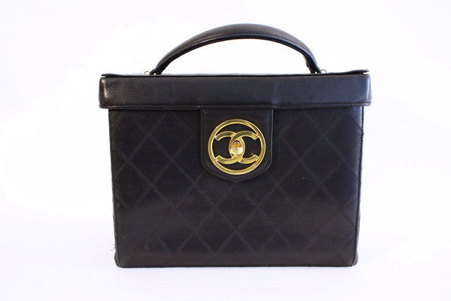 Vintage Chanel Quilted Train Case Cosmetic Bag