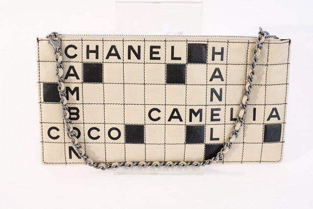 Vintage Chanel crossword cutch bag