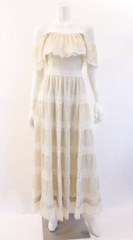 Vintage 70's Lace Off The Shoulder Dress
