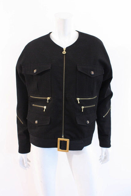 Vintage Chanel Black Denim Jacket
