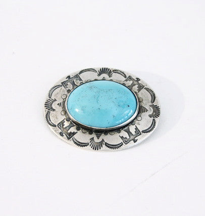 Vintage Sterling Silver & Turquoise Pin