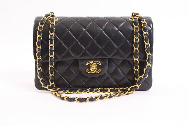 Vintage Chanel Black Lambskin Double Flap Bag