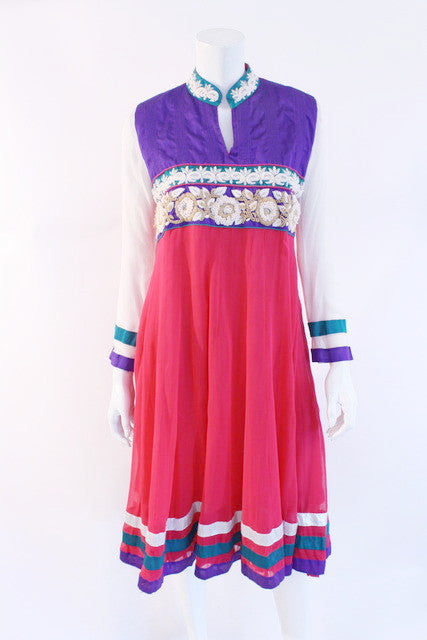 Vintage 70's Silk Embroidered Dress