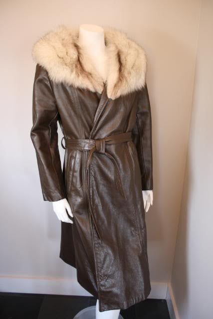 Vintage 60's Belted Brown Leather Coat with Fox Fur Collar