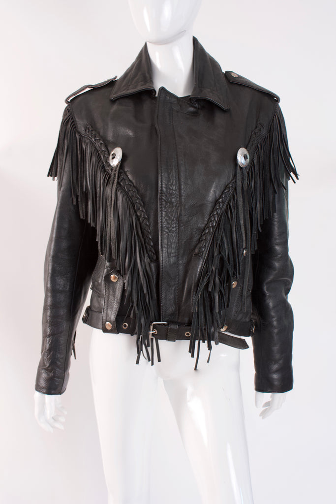 Vintage 80's Fringed Leather Motorcycle Jacket