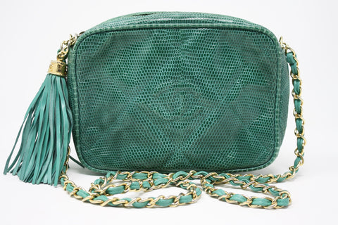 Rare Vintage CHANEL Teal Lizard Camera Bag