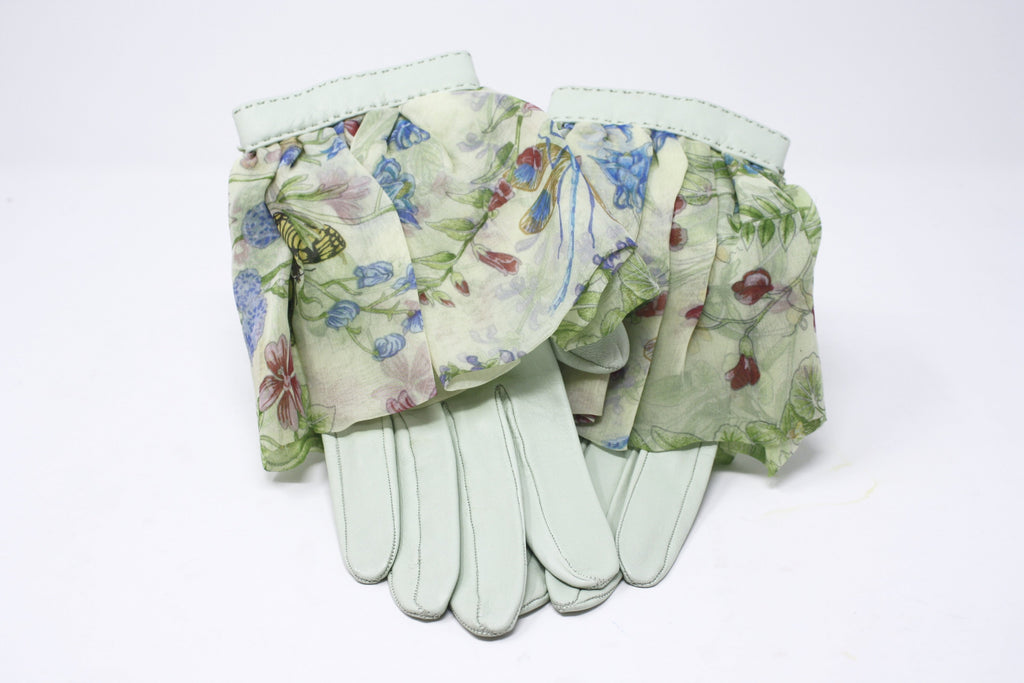 Rare Vintage HERMES Mint Green Scarf Gloves