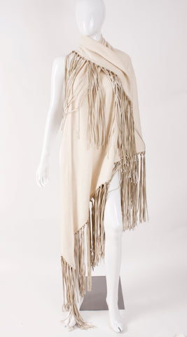 Vintage HERMES Cashmere & Leather Fringe Shawl
