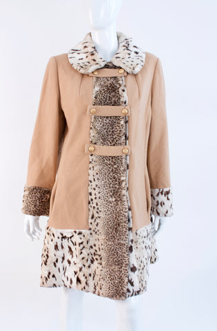 Vintage 60's Faux Fur & Wool Coat