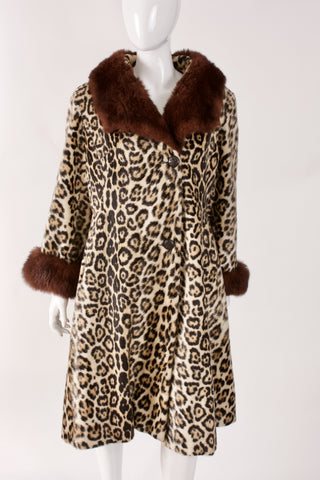 Vintage 70's SAFARI Faux Leopard Fur Coat w/Fur Accents