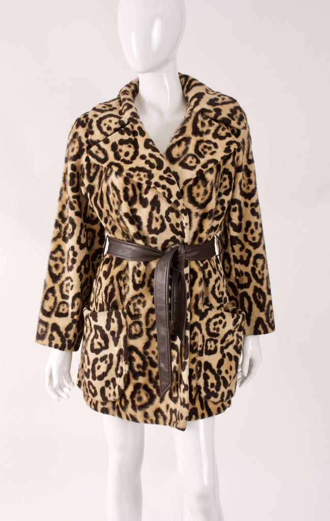 Vintage 60's SAFARI Faux Leopard Fur Wrap Coat
