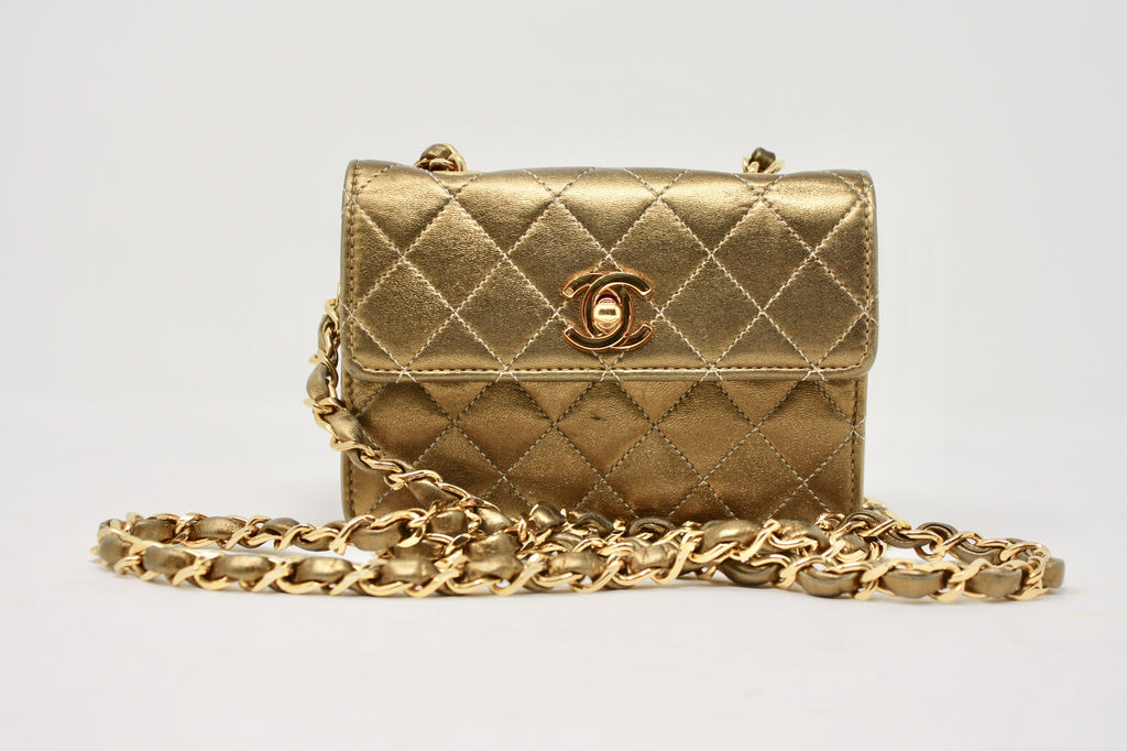 Vintage CHANEL Bronze Metallic Mini Flap Bag