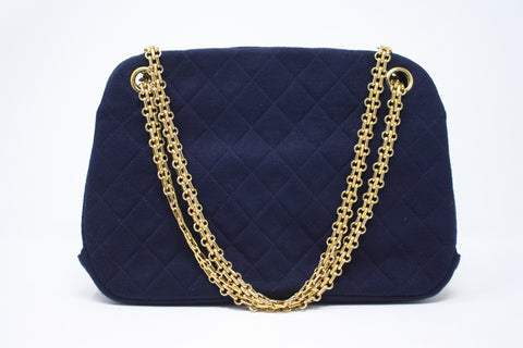 Vintage 70's CHANEL Navy Jersey Bag