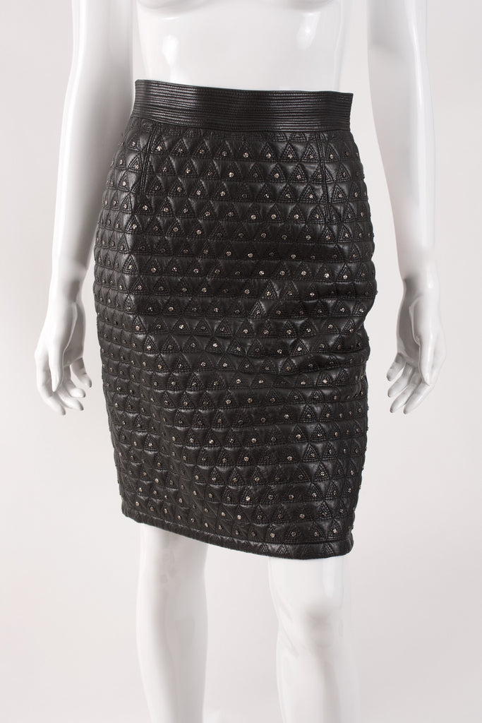 Vintage F/W 1989 GIANNI VERSACE Studded Leather Skirt